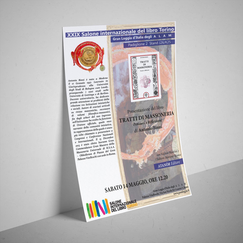 Locandina programma Gran Loggia d'Italia per Salone del Libro di Torino 2016 /(mockup by freepics.com)