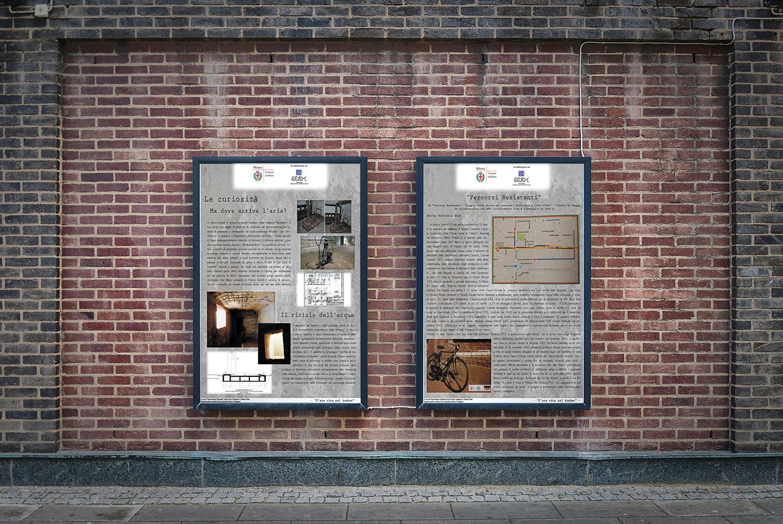 Pannelli didattici progetto bunker Milano Piazza Grandi